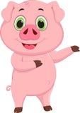 Cute pig cartoon waving Stock Image