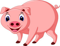 Cute pig cartoon. On a white background stock illustration