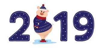 Cute pig character. 2019 New Year symbol. New year sign 2019 with shy pig in cozzy christmas pullover skating. Used as logo, emblem for posters, banners stock illustration