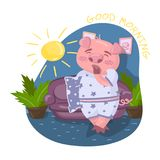 Cute pig character wearing pajamas yawning in living room, Good morning vector Illustration in cartoon style, design. Cute pig character wearing pajamas yawning Royalty Free Stock Image