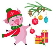 Cute pig with Christmas tree isolated on white background, symbol in the Chinese calendar the of the 2019 Year. Vector illustratio stock photo