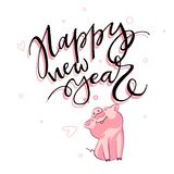 Cute pig with creative 2019 New Year lettering. Symbol of the year in the Chinese calendar. Isolated. Vector. Illustration royalty free illustration