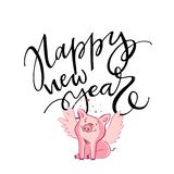 Cute pig with creative 2019 New Year lettering. Symbol of the year in the Chinese calendar. Isolated. Vector. Illustration stock illustration