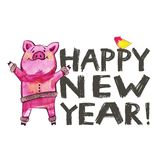 Cute pig with creative 2019 New Year lettering. Symbol of the year in the Chinese calendar. Isolated. Watercolor. Illustration stock illustration
