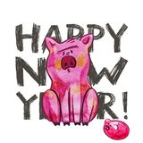 Cute pig with creative 2019 New Year lettering. Symbol of the year in the Chinese calendar. Isolated. Watercolor. Illustration royalty free stock image