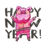 Cute pig with creative 2019 New Year lettering. Symbol of the year in the Chinese calendar. Isolated. Watercolor. Illustration stock photo