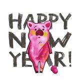 Cute pig with creative 2019 New Year lettering. Symbol of the year in the Chinese calendar. Isolated. Watercolor. Illustration royalty free stock images