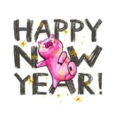 Cute pig with creative 2019 New Year lettering. Symbol of the year in the Chinese calendar. Isolated. Watercolor. Illustration royalty free illustration