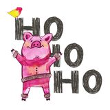 Cute pig with creative 2019 New Year lettering. Symbol of the year in the Chinese calendar. Isolated. Watercolor. Illustration stock photography