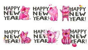 Cute pig with creative 2019 New Year lettering. Symbol of the year in the Chinese calendar. Watercolor illustration for. Postcard vector illustration