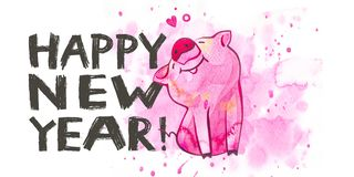 Cute pig with creative 2019 New Year lettering. Symbol of the year in the Chinese calendar. Watercolor illustration for. Postcard horizontal format stock illustration