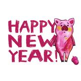 Cute pig with creative 2019 New Year lettering. Symbol of the year in the Chinese calendar. Isolated. Watercolor. Illustration vector illustration