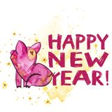 Cute pig with creative 2019 New Year lettering. Symbol of the year in the Chinese calendar. . Watercolor. Illustration vector illustration