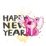 Cute pig with creative 2019 New Year lettering. Symbol of the year in the Chinese calendar. . Watercolor. Illustration stock illustration