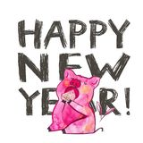Cute pig with creative 2019 New Year lettering. Symbol of the year in the Chinese calendar. Watercolor illustration for. Postcard royalty free illustration