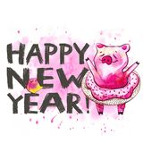 Cute pig with creative 2019 New Year lettering. Symbol of the year in the Chinese calendar. Watercolor illustration for. Postcard stock illustration