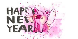 Cute pig with creative 2019 New Year lettering. Symbol of the year in the Chinese calendar. Watercolor illustration for. Postcard horizontal format royalty free illustration