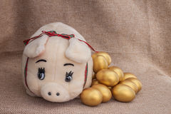 Cute pig doll closed to golden easter egg Royalty Free Stock Photos