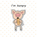 Cute pig eating bread. Stock Photos