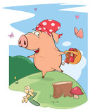 A cute pig farm animal cartoon. The cheerful pig collects mushrooms Royalty Free Stock Image