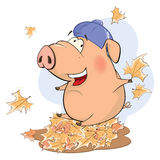 A cute pig farm animal cartoon Royalty Free Stock Photos