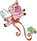 Cute pig flying with bird stock illustration