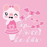 Cute pig gets love letter with wings  cartoon illustration  Royalty Free Stock Image