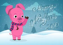 Cute pig happy new year greeting card. Cute pig cartoon happy chinese new year greeting card stock illustration