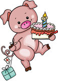 Cute pig holding birthday cake and gift Stock Photo