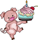 Cute pig holding birthday cake Royalty Free Stock Image