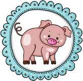 Cute pig label round sticker. Scalable vectorial image representing a cute pig label round sticker, isolated on white Royalty Free Stock Image