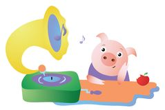 Cute pig listens to the gramophone and dreams vector illustration
