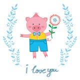 Cute pig in love Stock Photo