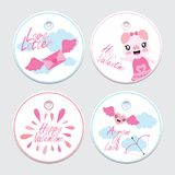 Cute pig, love letter, and arrow  cartoon illustration for Valentine cupcake topper set design. Postcard and sticker set Royalty Free Stock Photography