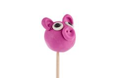 Cute pig made of plasticine Stock Images