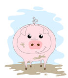 Cute pig in mud. A cute pig in mud cartoon Stock Images