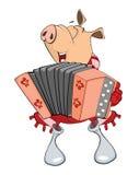 Cute Pig Musician Cartoon Royalty Free Stock Photos
