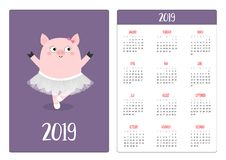Cute pig piggy ballerina. Ballet dancer in white dress. Pocket calendar layout 2019 new year. Week starts Sunday. Cartoon. Character. Vertical orientation. Flat vector illustration