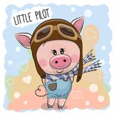 Cute Pig in a pilot hat. Cute cartoon Pig in a pilot hat royalty free illustration