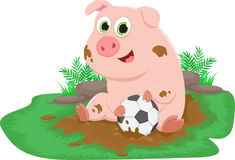 Cute pig play ball in a mud puddle. Farm life. Vector Illustrations of cute pig play ball in a mud puddle. Farm life Royalty Free Stock Image