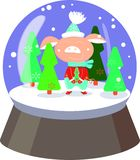 Cute pig in r snowball with falling snowflakes and on white background stock illustration