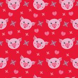 Cute pig on a red background, seamless pattern. royalty free illustration
