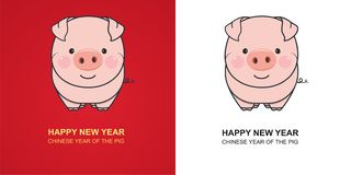 Cute pig on red and white background. Chinese New Year of the Pig. Vector Illustration