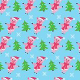 Cute pig seamless pattern on a blue background. royalty free illustration