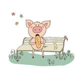 Cute pig sitting on a bench. Piggy eating bread. The bird sings their song. Funny vector illustration in cartoon style Royalty Free Stock Photos