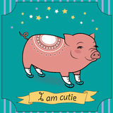 Cute Pig with skates royalty free stock photography