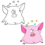 Cute pig with stars Royalty Free Stock Image