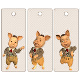 Cute pig tags or bookmarks Stock Photography