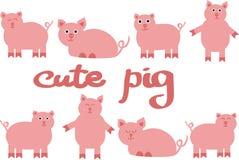 Cute pig vector illustration, drawing of farm animals. royalty free illustration