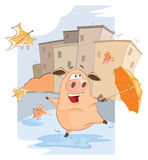 A cute Pig and Windy Autumn Day Cartoon Royalty Free Stock Image